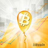Golden bitcoin cryptocurrency baloon in the bright rays on backg. Round with statistics chart showing various visualization Royalty Free Stock Image