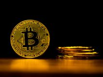 Golden bitcoin cryptocurrency banking money transfer business technology with black background. Concept of distributed ledger Royalty Free Stock Photos