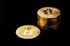 golden bitcoin cryptocurrency BTC Stock Photos