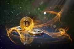 Golden bitcoin cryptocurrency BTC. Burning hot Royalty Free Stock Photos