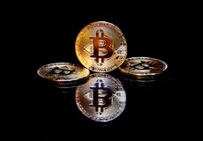 Golden bitcoin cryptocurrency BTC Stock Image