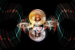 Golden bitcoin cryptocurrency BTC Royalty Free Stock Photo