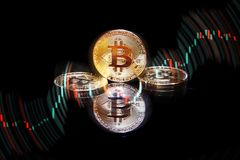Golden bitcoin cryptocurrency BTC Stock Photography