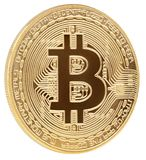 Golden bitcoin cryptocurrency coin isolated on white background royalty free stock images