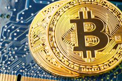 Golden Bitcoin Cryptocurrency on computer circuit board. Macro shot Royalty Free Stock Image