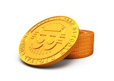 Golden Bitcoin, cryptocurrency concept, 3D illustration Royalty Free Stock Images