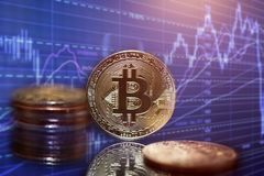 Golden Bitcoin Cryptocurrency royalty free stock images