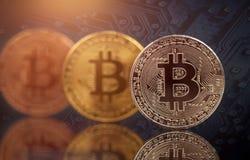 Golden Bitcoin Cryptocurrency stock photos