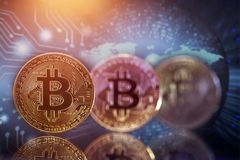 Golden Bitcoin Cryptocurrency stock photography