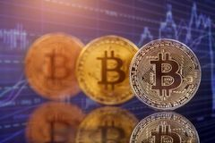 Golden Bitcoin Cryptocurrency stock images