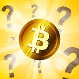 Golden bitcoin cryptocurrency with question marks on the bright Royalty Free Stock Images