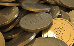 Golden Bitcoin cryptography digital currency coins. Royalty Free Stock Photos