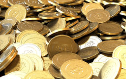 Golden Bitcoin cryptography digital currency coins. Royalty Free Stock Images
