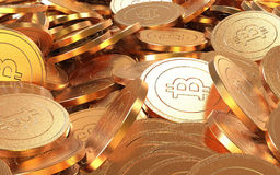 Golden Bitcoin cryptography digital currency coins. Stock Photo