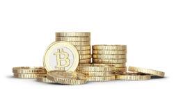 Golden Bitcoin stock image