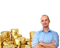 Golden bitcoin Stock Image