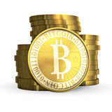 Golden Bitcoin Royalty Free Stock Photography