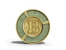 Golden bitcoin 3d render on white background Royalty Free Stock Photo