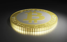 Golden bitcoin on dark background Royalty Free Stock Photography