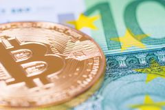 Golden bitcoin, digital crypto currency royalty free stock images