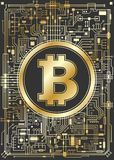 Golden bitcoin digital currency background Stock Photos