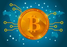 Golden bitcoin digital currency on a blue background of the world Royalty Free Stock Photos