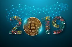 Golden bitcoin digital currency with 2019 new year. Business innovation technology set application icons marketing ideas concept, Vector illustration modern stock illustration