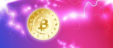 Golden bitcoin digital currency. One coin on blue red bright sky background with lightning or storm. Bitcoin mining. Cryptocurrenc. Y technology and digital Stock Photos