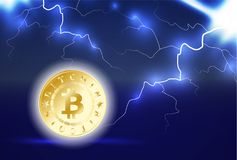 Golden bitcoin digital currency. One coin on dark blue background with lightning or storm. Bitcoin mining. Cryptocurrency technolo. Golden bitcoin digital Stock Images