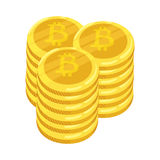 Golden bitcoin digital currency. A stack of coins bitcoin. Gold stack of bitcoins cryptocurrency coins. Mining. Vector. Golden bitcoin digital currency. A stack Stock Photography