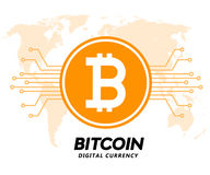 Golden bitcoin digital currency vector illustration Stock Images