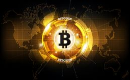 Golden bitcoin digital currency and world globe hologram, futuristic digital money. Golden bitcoin digital currency and world globe hologram, futuristic Royalty Free Stock Photography