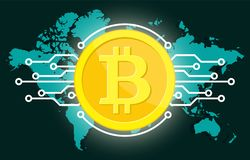 Golden bitcoin digital currency and world globe. Golden bitcoin digital currency and world map globe, futuristic digital money and technology worldwide network Stock Image