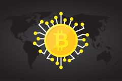 Golden bitcoin digital currency on world map, futuristic digital money, technology worldwide network concept, vector illustration.  Stock Image