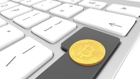 Golden bitcoin, digital, cyber currency on a computer keyboard, closeup. Golden bitcoin, digital, cyberspace cypto currency, placed on a computer keyboard Royalty Free Stock Photo