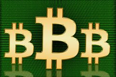 Golden Bitcoin Digital Symbols - Digital Currency Royalty Free Stock Photo