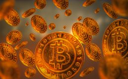 Golden bitcoin, floating in the air. stock image