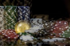 Golden bitcoin in front of stacks of white green blue and red gambling chips stock image