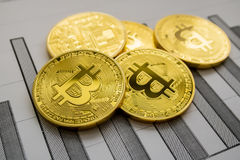 A golden bitcoin on graph background. trading concept of crypto currency. Photo Royalty Free Stock Photos