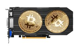 Golden Bitcoin on a graphics card Stock Image