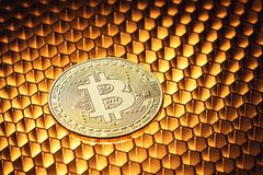 Golden bitcoin on honeycombs, concept business and finance Stock Photography