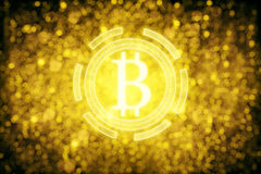 Golden bitcoin icon. S on sparkly background. Exchange concept. 3D Rendering Stock Photography