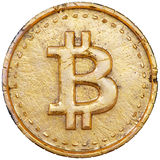Golden bitcoin Stock Photography