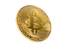 Golden bitcoin isolated on a white background. Selective focus. Cryptocurrency concept. Golden bitcoin isolated on a white background. Selective focus Stock Photos