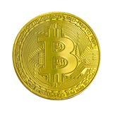 Golden bitcoin isolated on white background. Virtual money Stock Photos