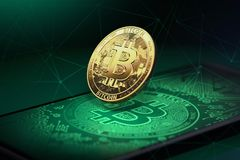 Golden bitcoin levitating over a smartphone with Bitcoin logo on it. Bitcoin and blockchain concept. 3D rendering royalty free illustration