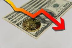 Golden bitcoin on one hundred dollar bills Royalty Free Stock Photo
