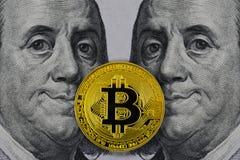 Golden bitcoin lie between two smiling president Franklin Roosevelt stock photo