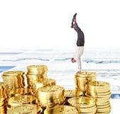 Golden bitcoin Stock Photos
