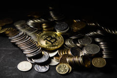 Golden bitcoin with money coins background. conceptual image for crypto currency. Stock Photos